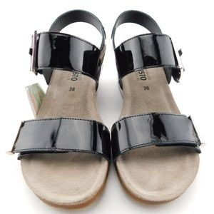 Mephisto Shoes - New MEPHISTO Black Patent Buckle Wedge Sandals 38